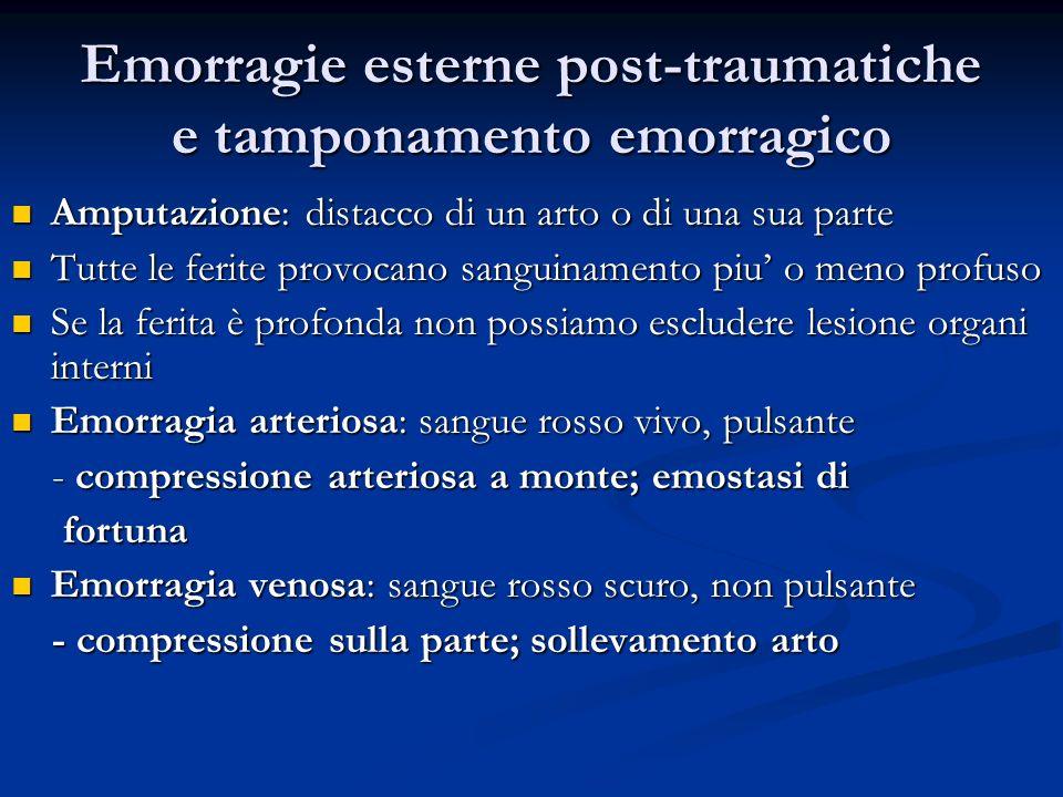 Emorragie esterne post-traumatiche e tamponamento emorragico Amputazione: distacco di un arto o di una sua parte Amputazione: distacco di un arto o di
