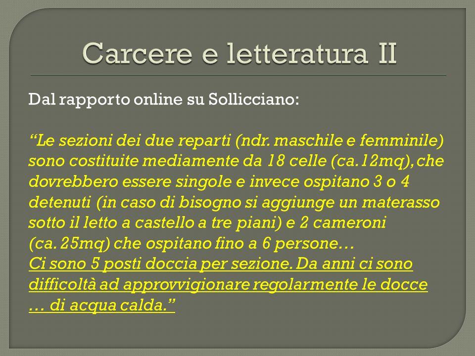 Dal rapporto online su Sollicciano: Le sezioni dei due reparti (ndr. maschile e femminile) sono costituite mediamente da 18 celle (ca.12mq), che dovre