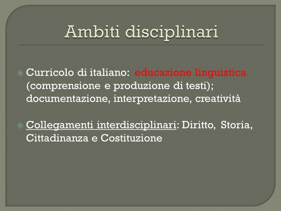 Curricolo di italiano: educazione linguistica (comprensione e produzione di testi); documentazione, interpretazione, creatività Collegamenti interdisc