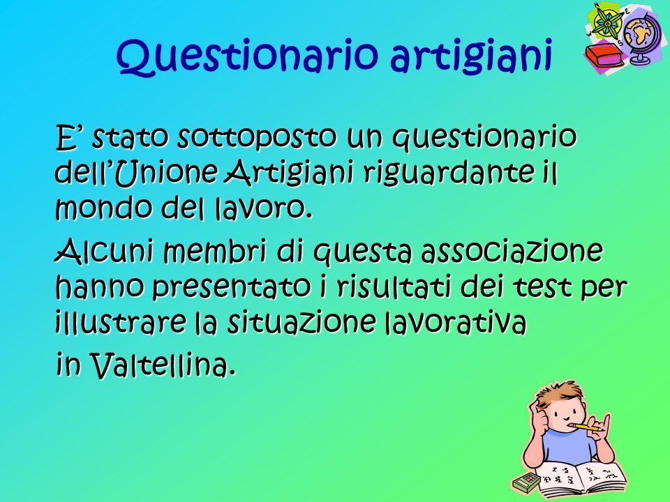 Questionario artigiani E stato sottoposto un questionario dellUnione Artigiani riguardante il mondo del lavoro.