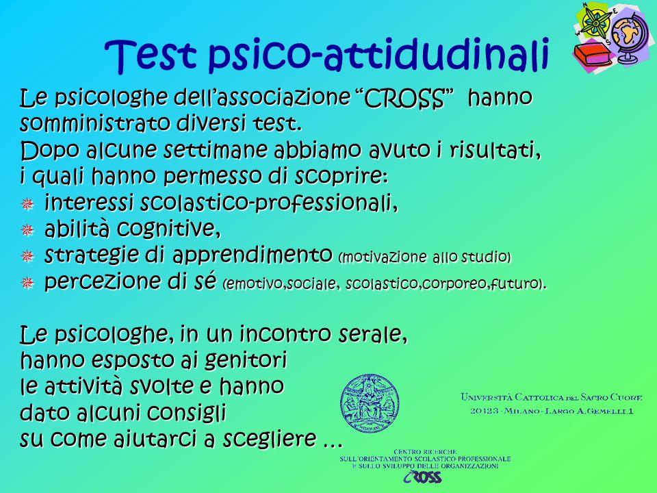 Test psico-attidudinali Le psicologhe dellassociazione CROSS hanno somministrato diversi test.