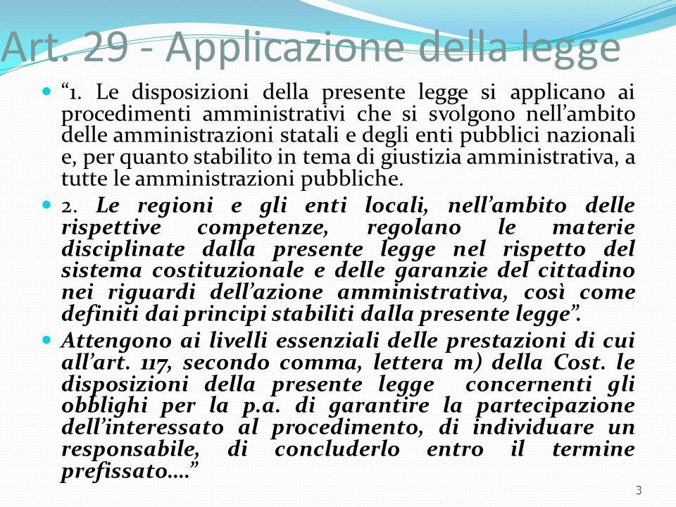 Art. 29 - Applicazione della legge 1. Le disposizioni della presente legge si applicano ai procedimenti amministrativi che si svolgono nellambito dell