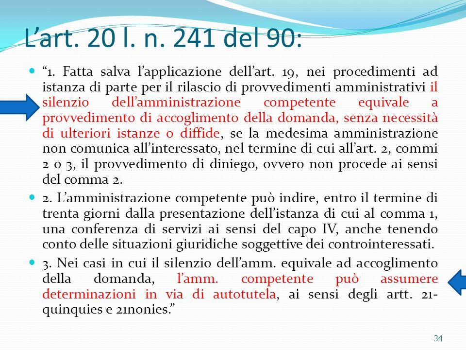 Lart. 20 l. n. 241 del 90: 1. Fatta salva lapplicazione dellart. 19, nei procedimenti ad istanza di parte per il rilascio di provvedimenti amministrat