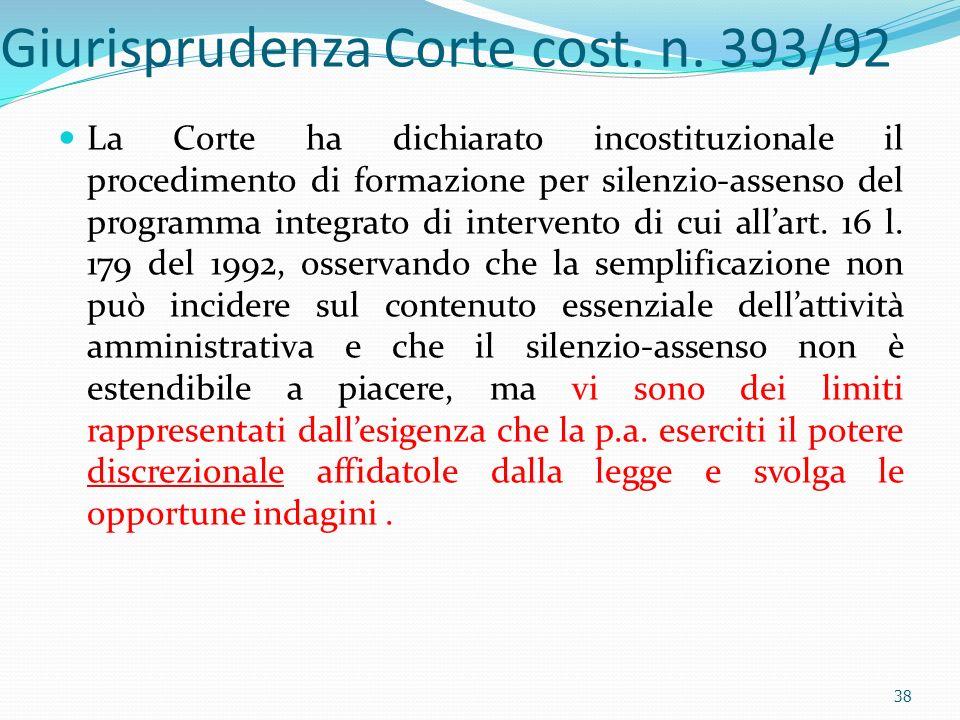Giurisprudenza Corte cost. n. 393/92 La Corte ha dichiarato incostituzionale il procedimento di formazione per silenzio-assenso del programma integrat