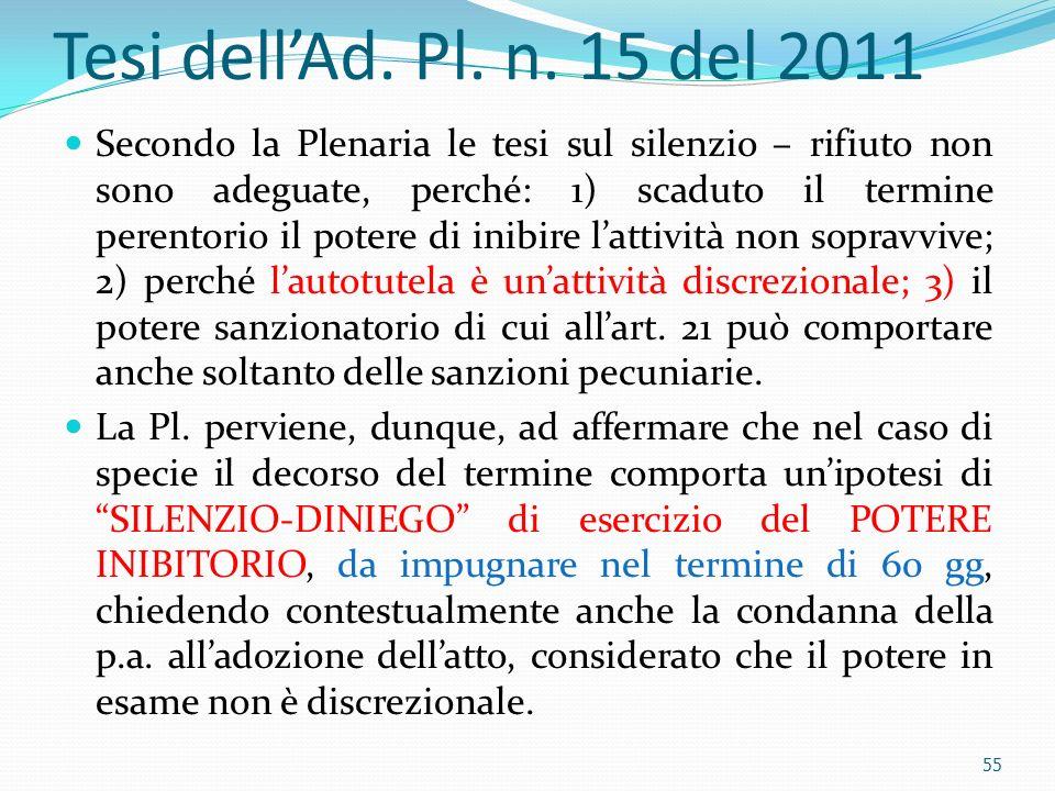 Tesi dellAd. Pl. n. 15 del 2011 Secondo la Plenaria le tesi sul silenzio – rifiuto non sono adeguate, perché: 1) scaduto il termine perentorio il pote