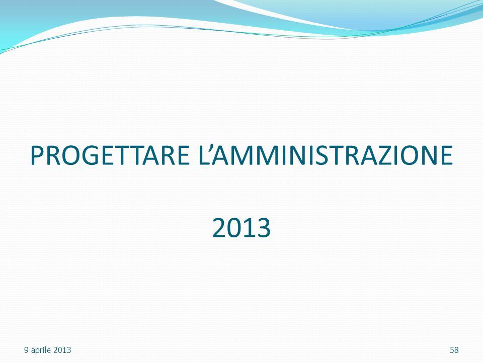 PROGETTARE LAMMINISTRAZIONE 2013 9 aprile 201358