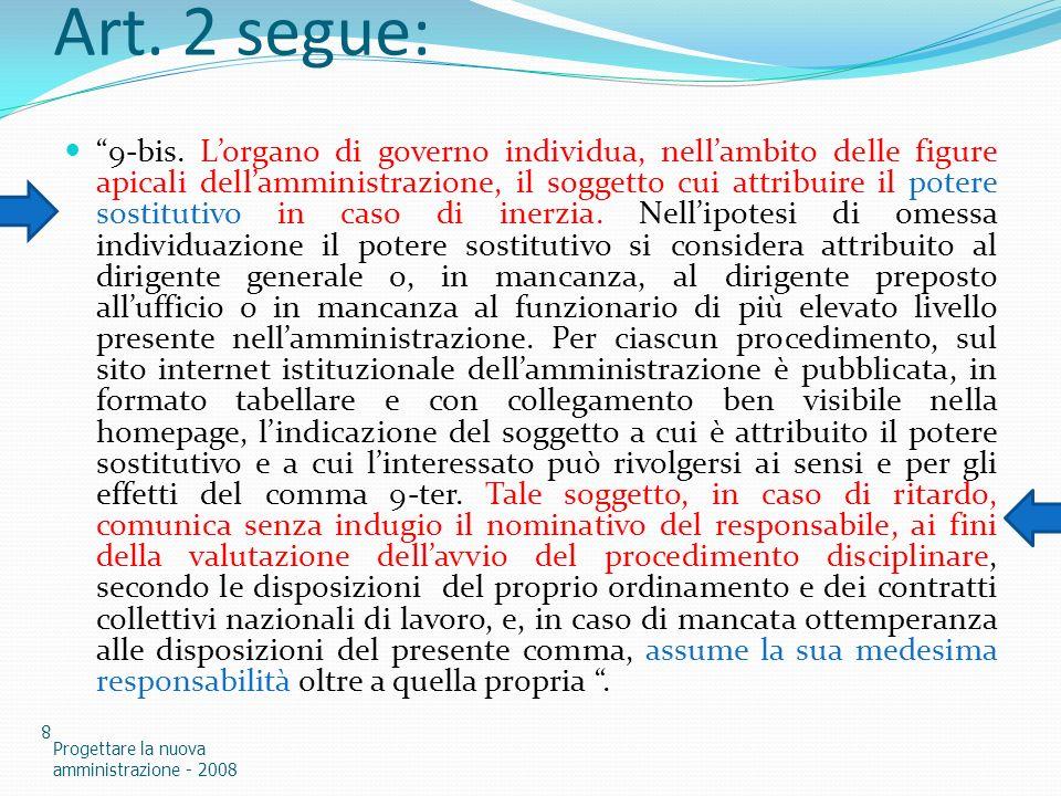 Art. 2 segue: 9-bis. Lorgano di governo individua, nellambito delle figure apicali dellamministrazione, il soggetto cui attribuire il potere sostituti