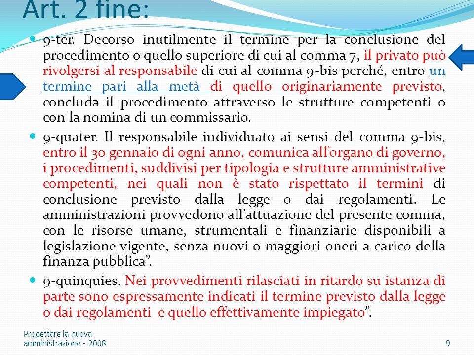 Art. 2 fine: 9-ter. Decorso inutilmente il termine per la conclusione del procedimento o quello superiore di cui al comma 7, il privato può rivolgersi
