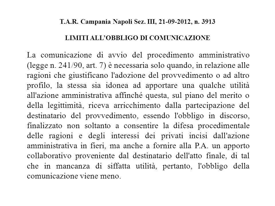T.A.R. Campania Napoli Sez. III, 21-09-2012, n.