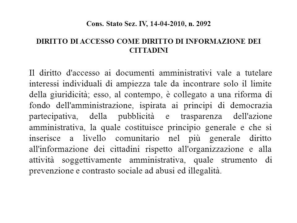 Cons. Stato Sez. IV, 14-04-2010, n.
