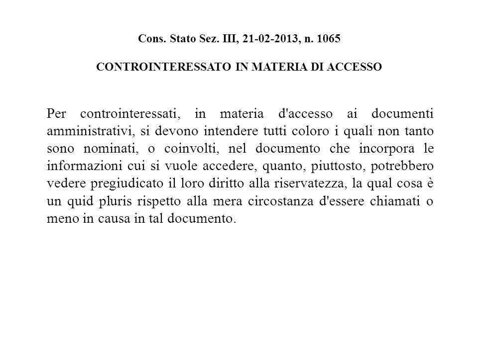 Cons. Stato Sez. III, 21-02-2013, n.