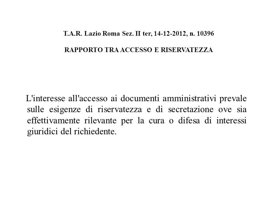 T.A.R. Lazio Roma Sez. II ter, 14-12-2012, n.