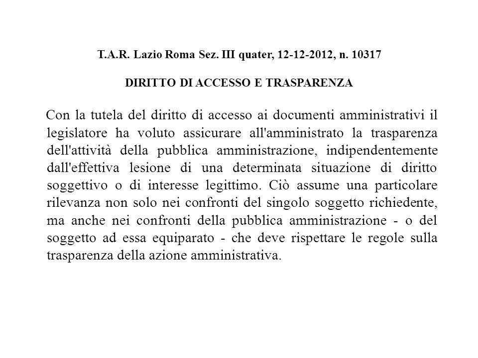 T.A.R. Lazio Roma Sez. III quater, 12-12-2012, n.