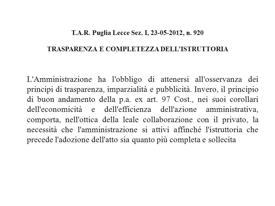 T.A.R. Puglia Lecce Sez. I, 23-05-2012, n.