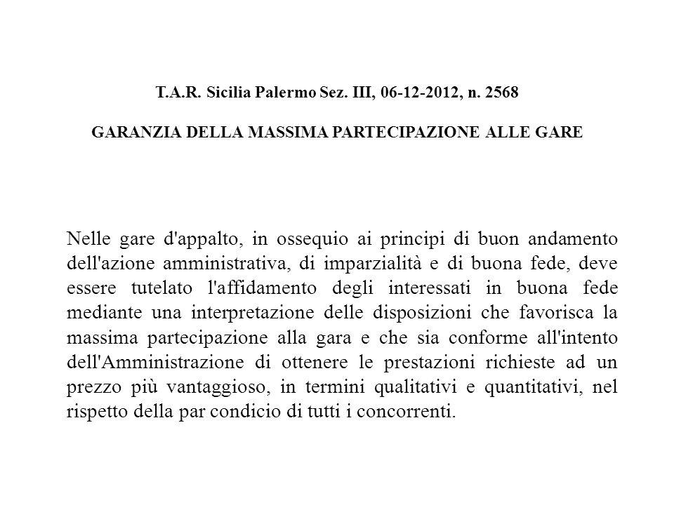 T.A.R. Sicilia Palermo Sez. III, 06-12-2012, n.