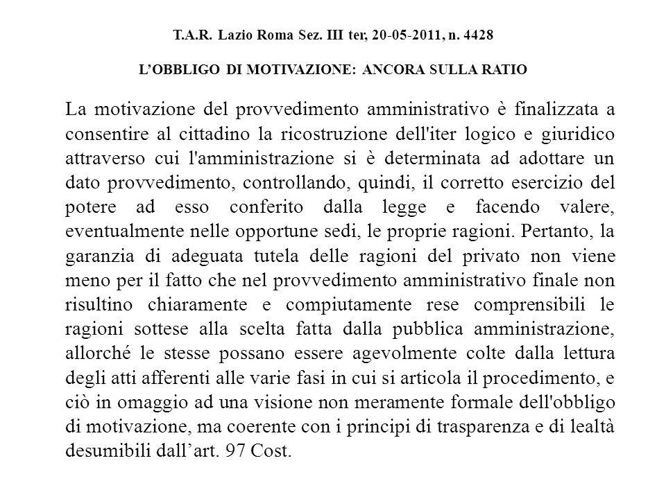 T.A.R. Lazio Roma Sez. III ter, 20-05-2011, n.