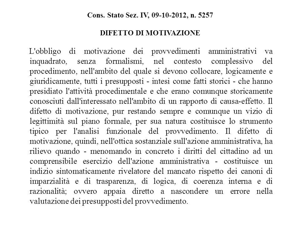 Cons. Stato Sez. IV, 09-10-2012, n.