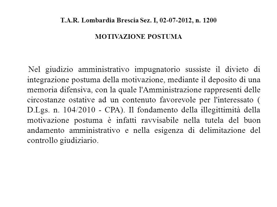 T.A.R. Lombardia Brescia Sez. I, 02-07-2012, n.
