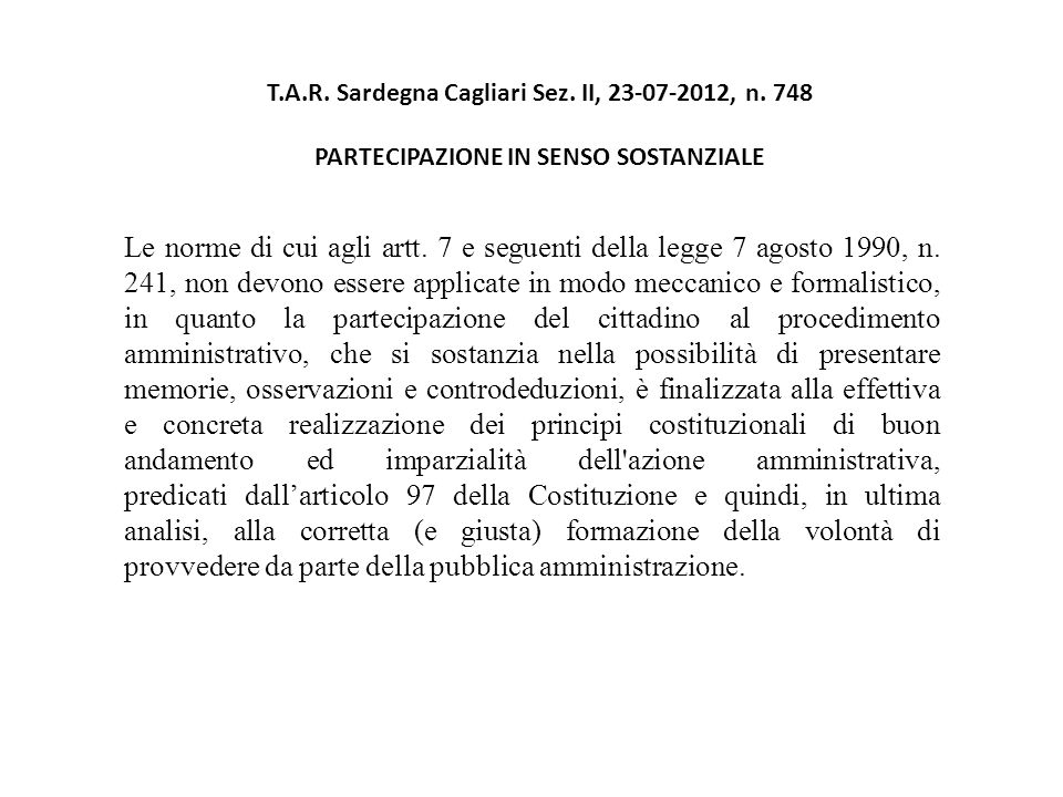 T.A.R. Sardegna Cagliari Sez. II, 23-07-2012, n.