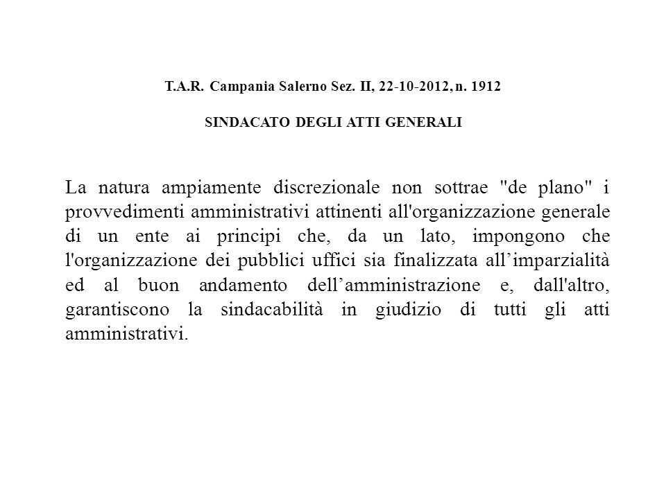 T.A.R. Campania Salerno Sez. II, 22-10-2012, n.