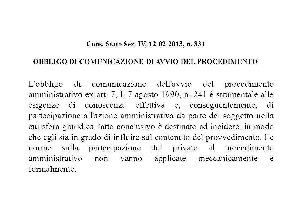 Cons. Stato Sez. IV, 12-02-2013, n.