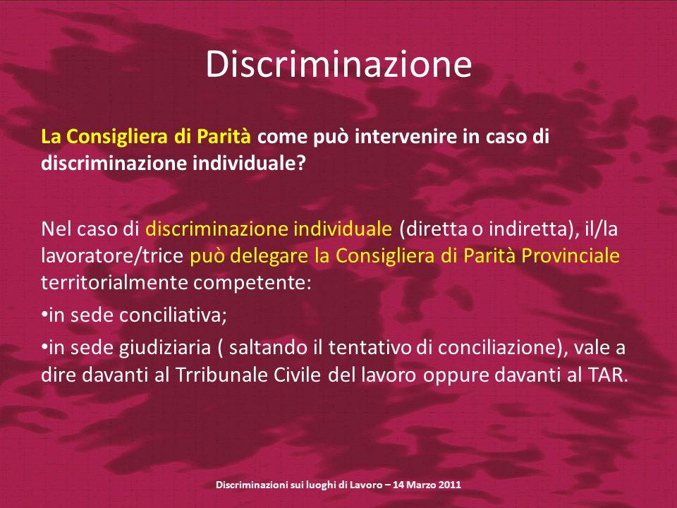 Discriminazione La Consigliera di Parità come può intervenire in caso di discriminazione individuale? Nel caso di discriminazione individuale (diretta