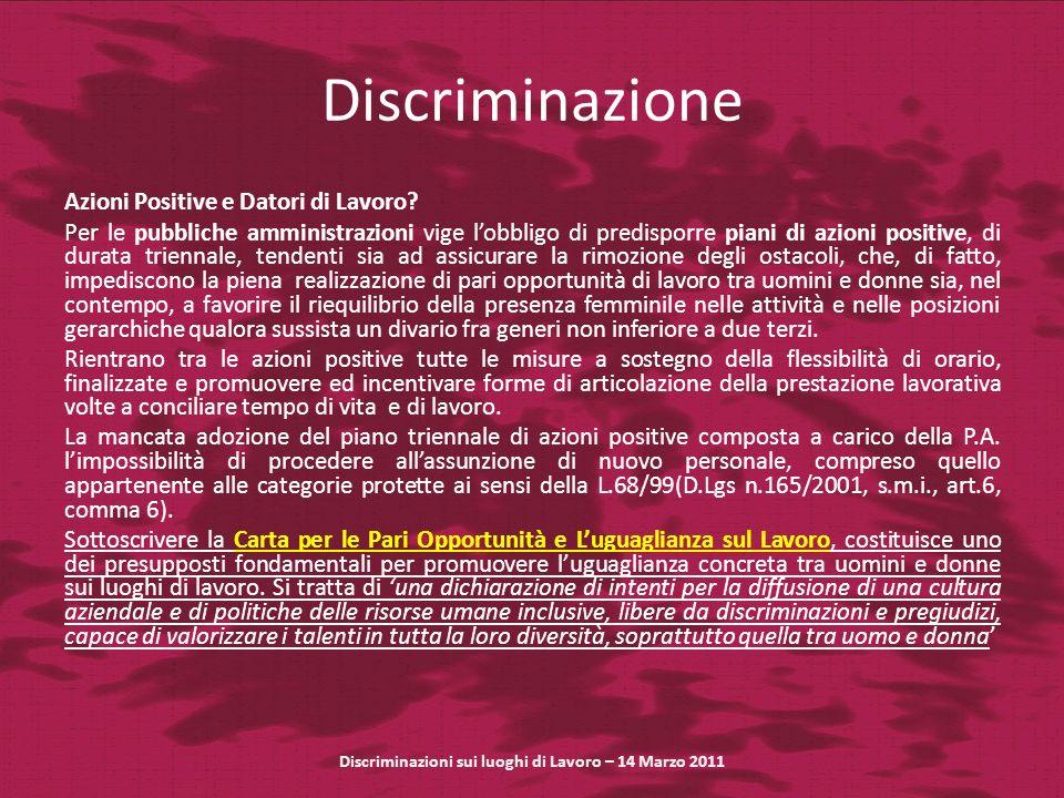 Discriminazione Azioni Positive e Datori di Lavoro.