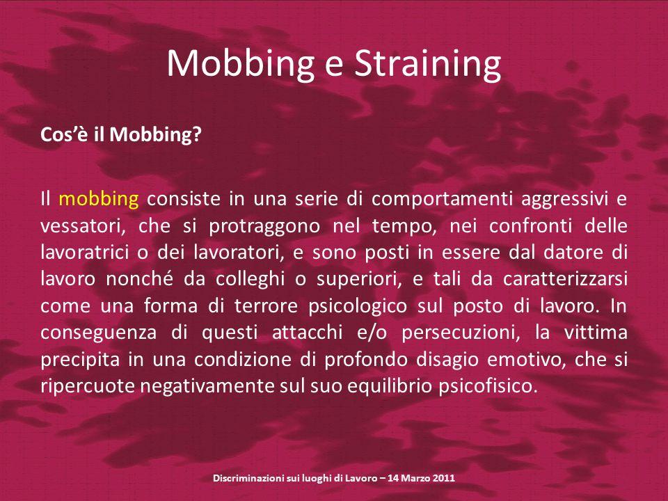 Mobbing e Straining Cosè il Mobbing.
