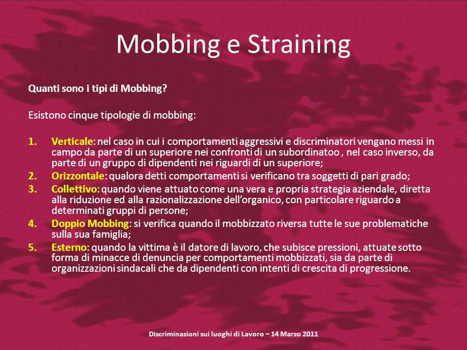 Mobbing e Straining Quanti sono i tipi di Mobbing? Esistono cinque tipologie di mobbing: 1.Verticale: nel caso in cui i comportamenti aggressivi e dis