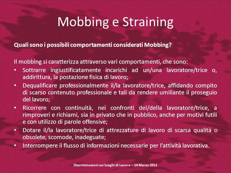 Mobbing e Straining Quali sono i possibili comportamenti considerati Mobbing? Il mobbing si caratterizza attraverso vari comportamenti, che sono: Sott