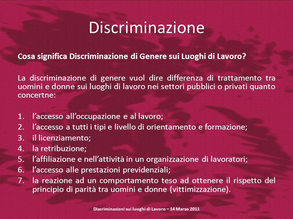 Discriminazione Cosa significa Discriminazione di Genere sui Luoghi di Lavoro? La discriminazione di genere vuol dire differenza di trattamento tra uo