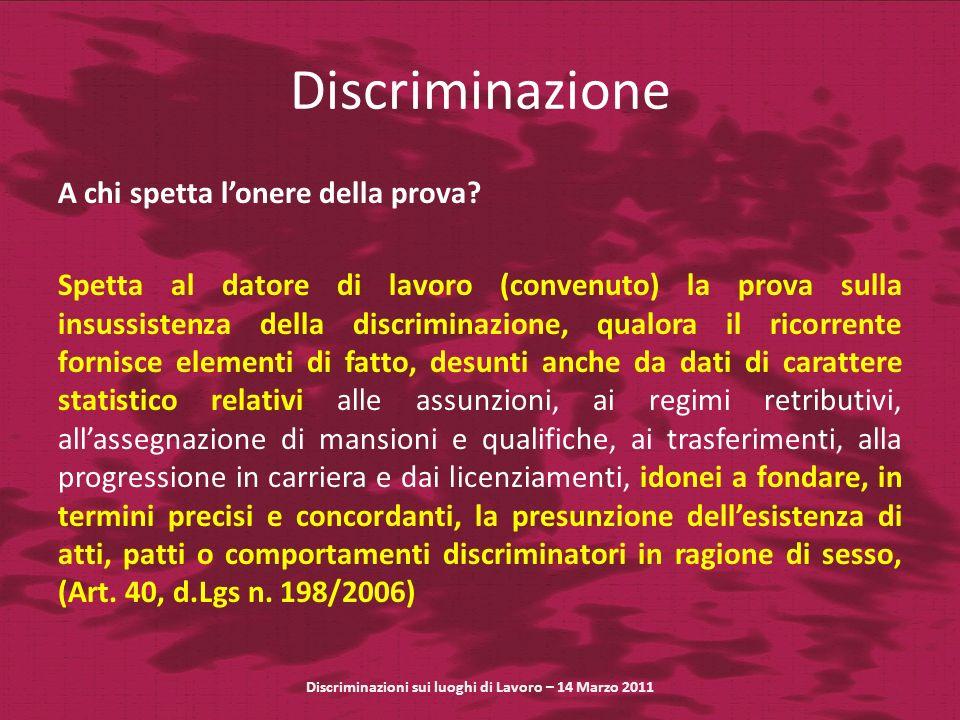 Discriminazione A chi spetta lonere della prova.