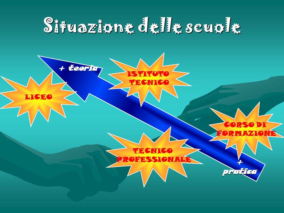 Situazione delle scuole + teoria + pratica LICEO ISTITUTO TECNICO PROFESSIONALE CORSO DI FORMAZIONE