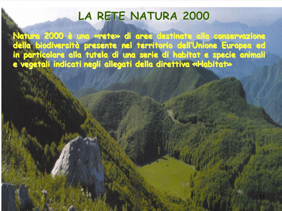 11 LA RETE NATURA 2000 Natura 2000 è una «rete» di aree destinate alla conservazione della biodiversità presente nel territorio dellUnione Europea ed