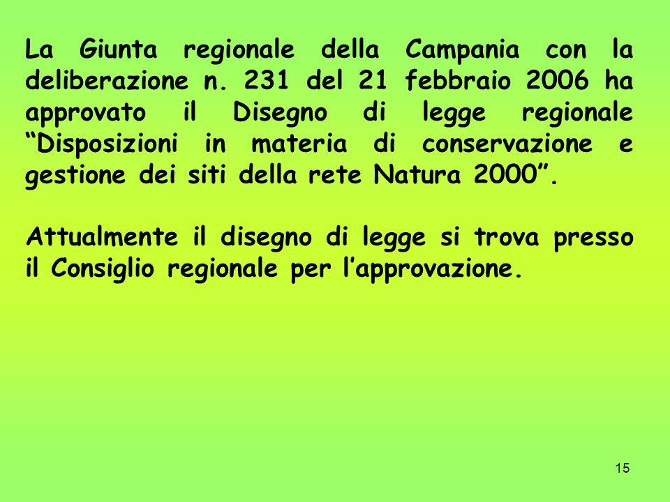 15 La Giunta regionale della Campania con la deliberazione n. 231 del 21 febbraio 2006 ha approvato il Disegno di legge regionale Disposizioni in mate