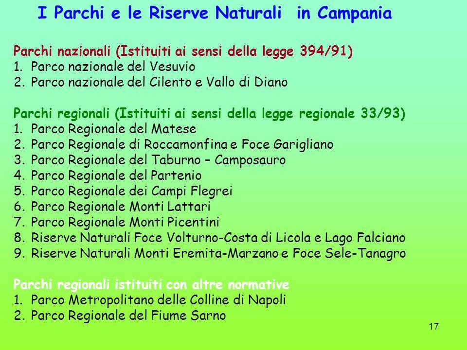 17 I Parchi e le Riserve Naturali in Campania Parchi nazionali (Istituiti ai sensi della legge 394/91) 1.Parco nazionale del Vesuvio 2.Parco nazionale