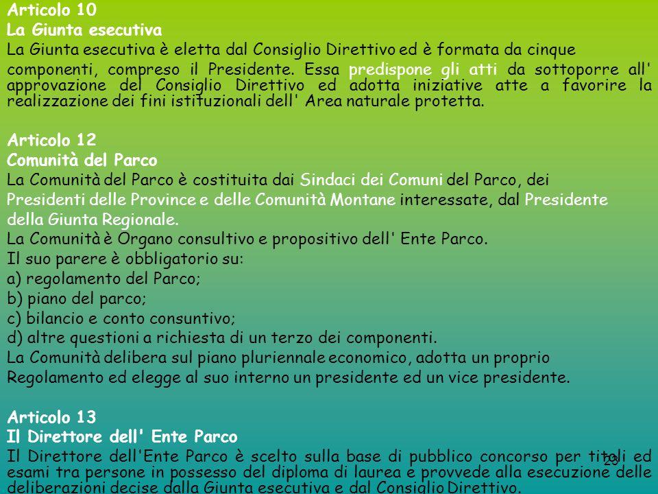 23 Articolo 10 La Giunta esecutiva La Giunta esecutiva è eletta dal Consiglio Direttivo ed è formata da cinque componenti, compreso il Presidente. Ess