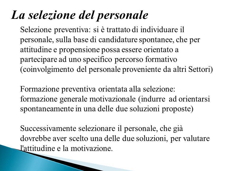 La selezione del personale Selezione preventiva: si è trattato di individuare il personale, sulla base di candidature spontanee, che per attitudine e