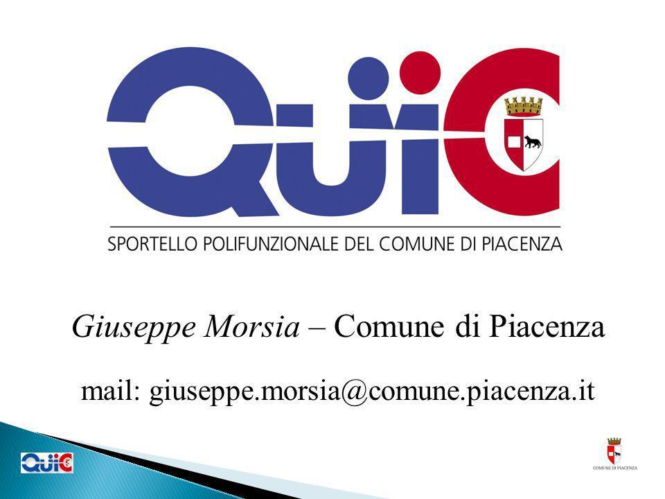 Giuseppe Morsia – Comune di Piacenza mail: giuseppe.morsia@comune.piacenza.it