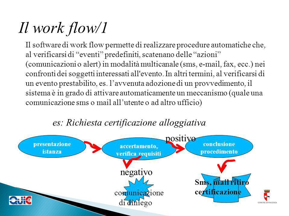 Il work flow/1 Il software di work flow permette di realizzare procedure automatiche che, al verificarsi di eventi predefiniti, scatenano delle azioni (comunicazioni o alert) in modalità multicanale (sms, e-mail, fax, ecc.) nei confronti dei soggetti interessati all evento.