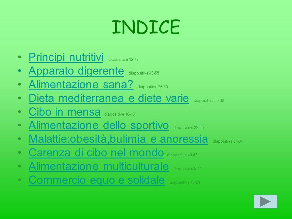 INDICE Principi nutritivi diapositive 12-17Principi nutritivi Apparato digerente diapositive 49-55Apparato digerente Alimentazione sana? diapositive 2