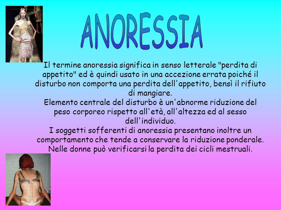 Il termine anoressia significa in senso letterale