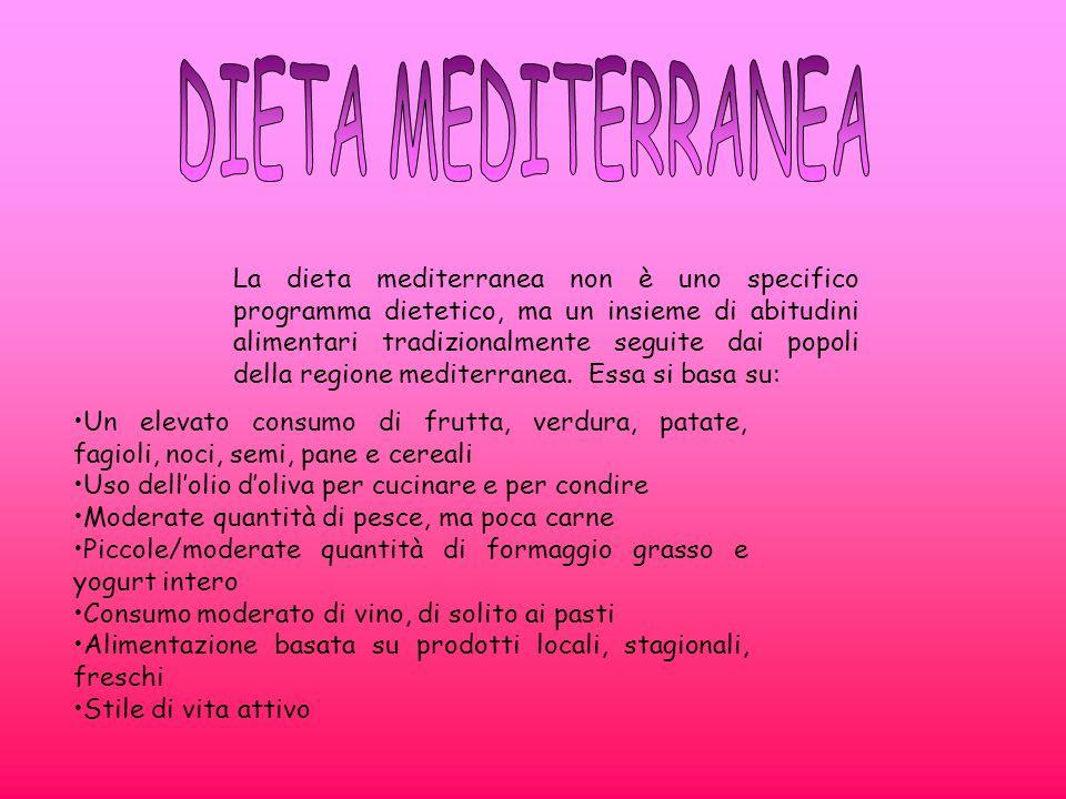 La dieta mediterranea non è uno specifico programma dietetico, ma un insieme di abitudini alimentari tradizionalmente seguite dai popoli della regione