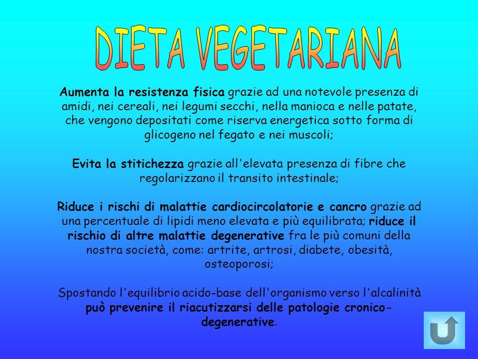 Aumenta la resistenza fisica grazie ad una notevole presenza di amidi, nei cereali, nei legumi secchi, nella manioca e nelle patate, che vengono depos
