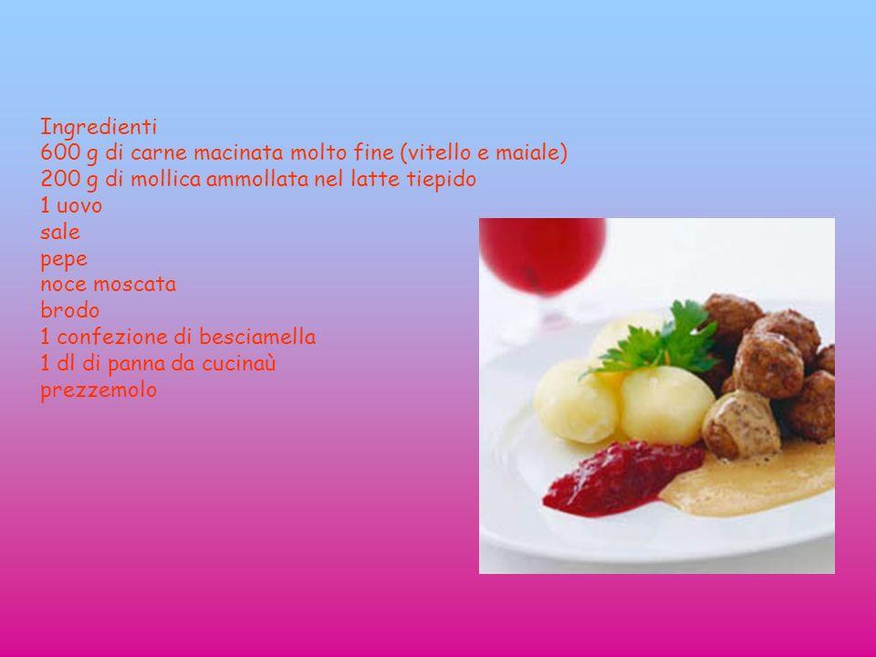 Ingredienti 600 g di carne macinata molto fine (vitello e maiale) 200 g di mollica ammollata nel latte tiepido 1 uovo sale pepe noce moscata brodo 1 c