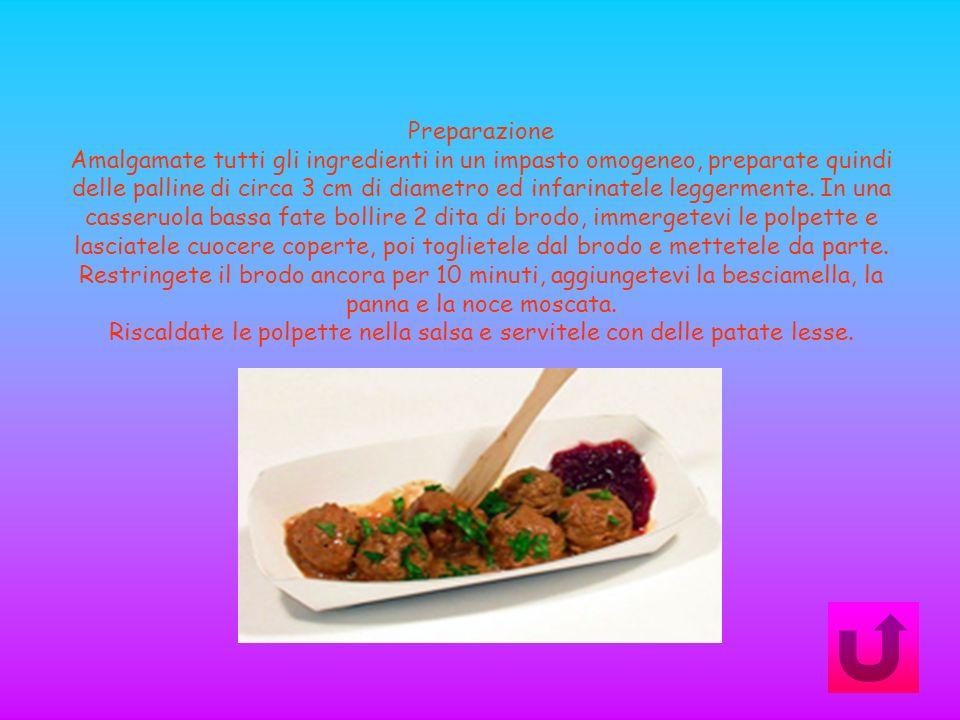 Preparazione Amalgamate tutti gli ingredienti in un impasto omogeneo, preparate quindi delle palline di circa 3 cm di diametro ed infarinatele leggerm