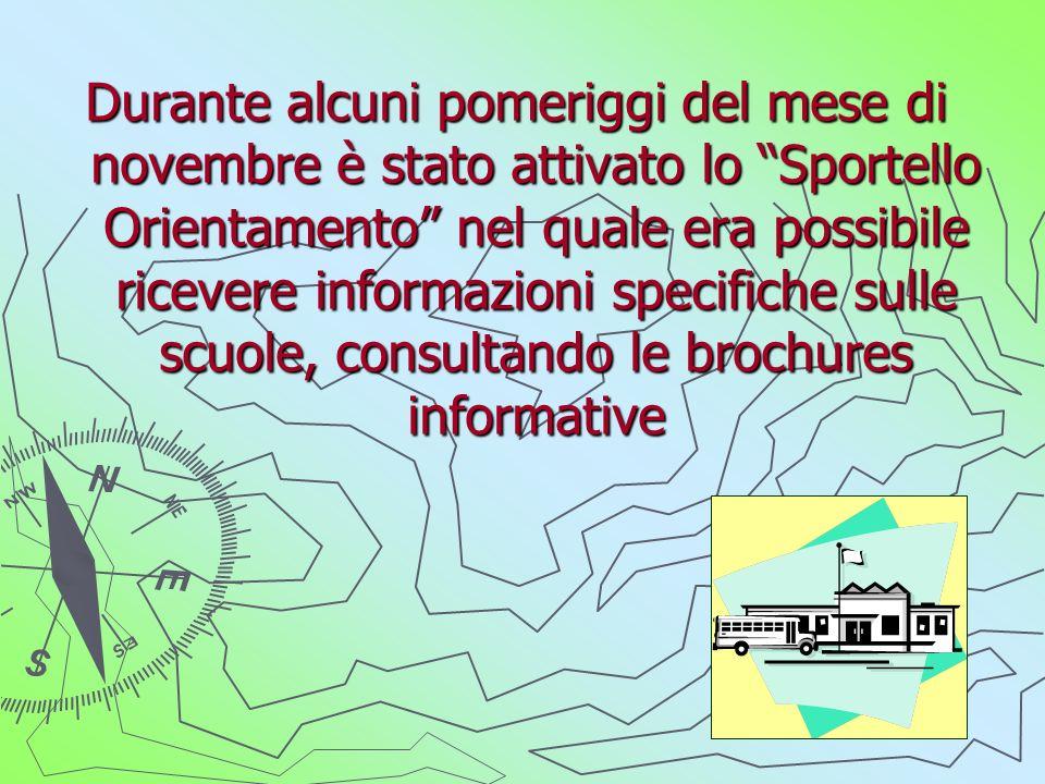 Durante alcuni pomeriggi del mese di novembre è stato attivato lo Sportello Orientamento nel quale era possibile ricevere informazioni specifiche sulle scuole, consultando le brochures informative