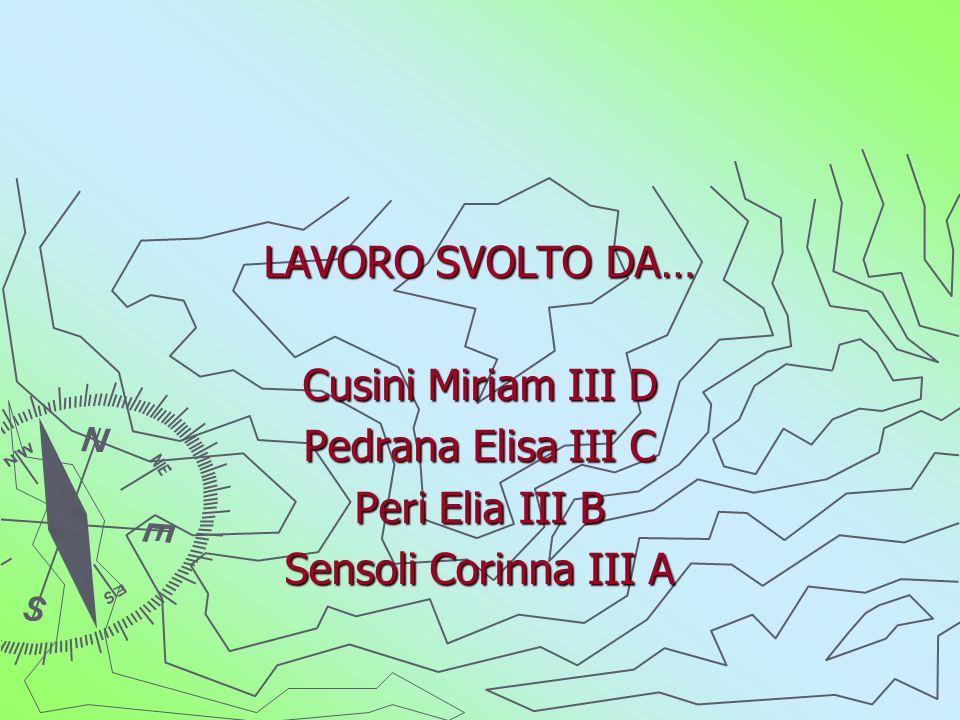 LAVORO SVOLTO DA… Cusini Miriam III D Pedrana Elisa III C Peri Elia III B Sensoli Corinna III A