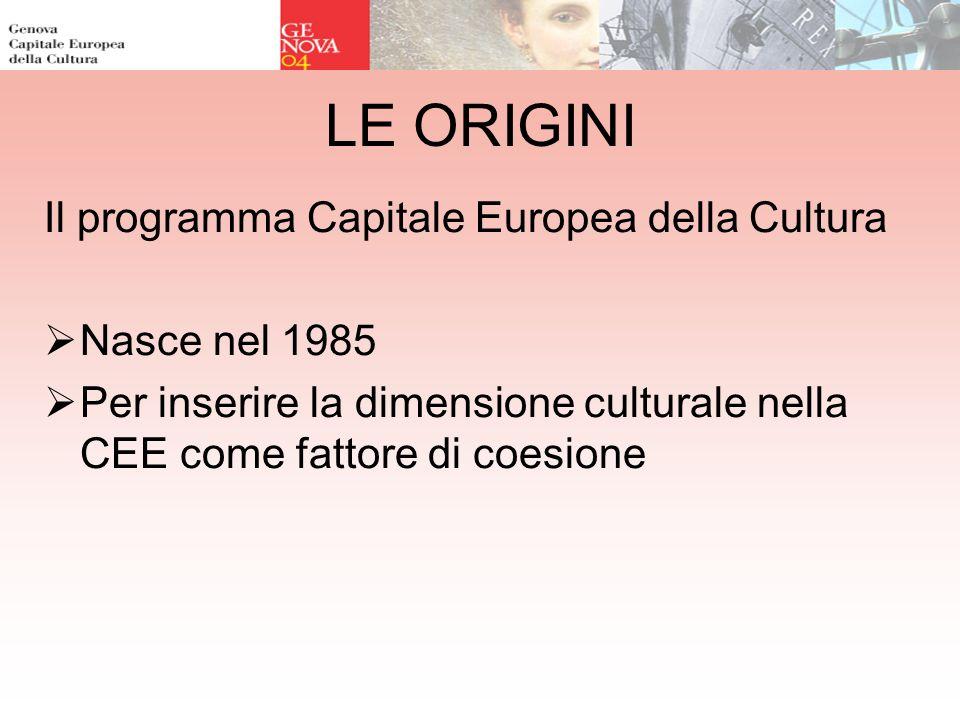 LE ORIGINI Il programma Capitale Europea della Cultura Nasce nel 1985 Per inserire la dimensione culturale nella CEE come fattore di coesione