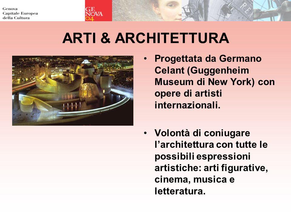 ARTI & ARCHITETTURA Progettata da Germano Celant (Guggenheim Museum di New York) con opere di artisti internazionali. Volontà di coniugare larchitettu